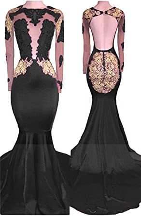 Ri Yun Sexy Backless Mermaid Prom Dress 2018 Long Sleeves Evening Gowns For Women With Gold