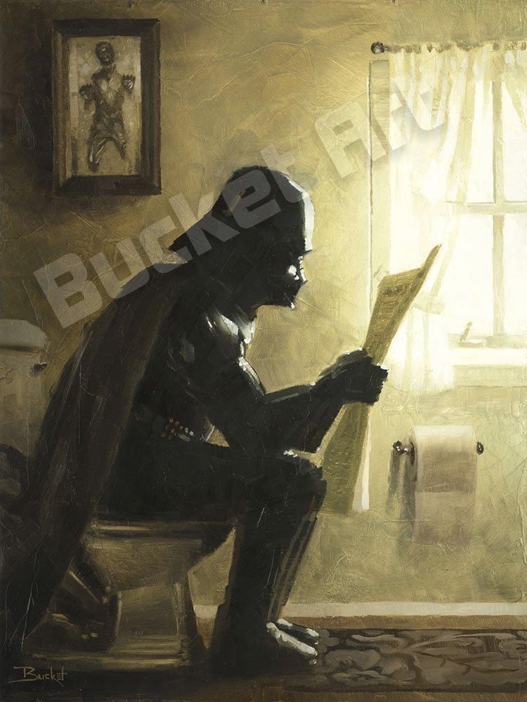 Bucket ウォールアート ギャラリー ラップキャンバス セレニティ スターウォーズのダースベイダーのパロディ 浴室用 12