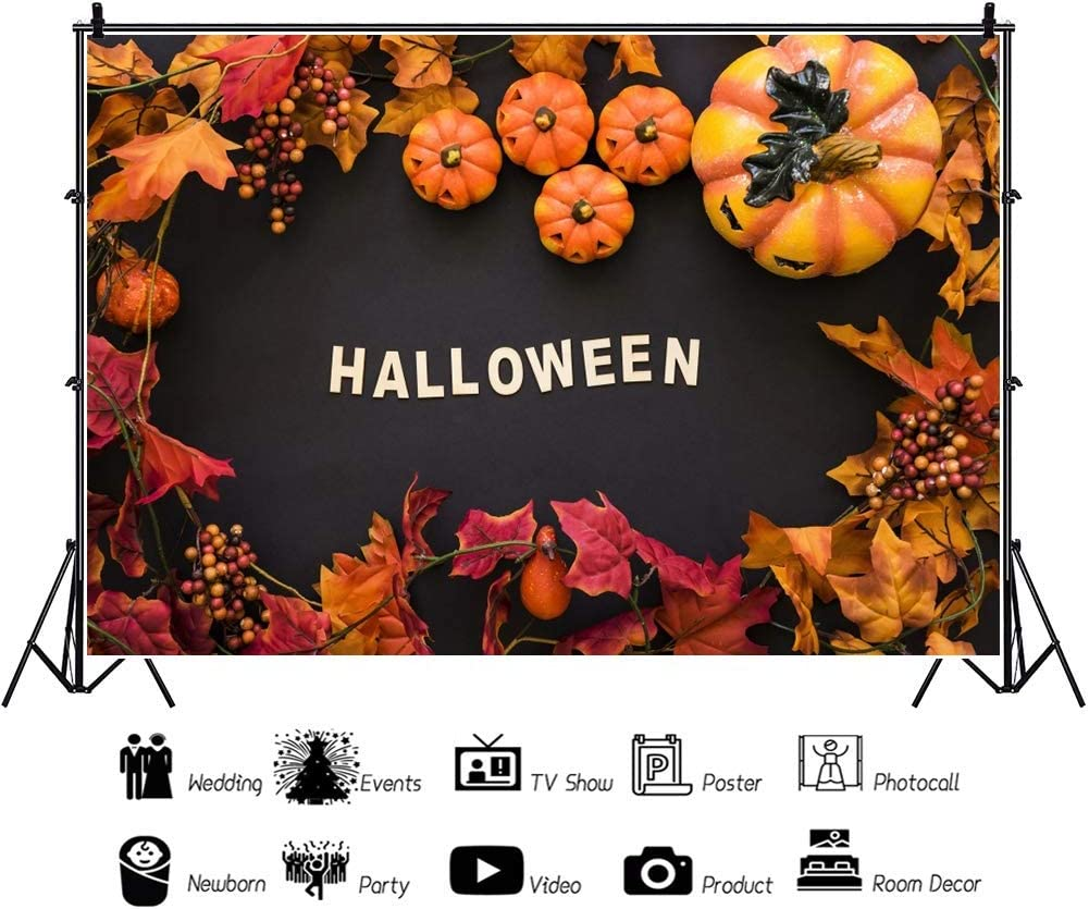 Halloween Background 7x5ft Thanksgiving Photography Backdrop Autumn Harvest Grimace Pumpkin Maple Leaves Blackboard Holiday Festival Carnival Fancy Ball Poster Photo Prop Studio Decor