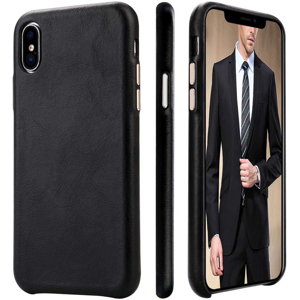 iPhone Xs/X Case Genuine Leather HCYANG Microfiber Lining Protective iPhone 10 Case Cover Slim Fit Vintage Shell Hard Back Cover for Apple iPhone X/XS 5.8'' (2018) Black