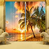 Ammybeddings Blackout Curtains,Charming 3D Coconut Tree in Sunset Scene Print Room Darkening Window Treatment Panel Drapes,Polyester Thermal Curtains,2 Panels,80W x 63L Inch For Sale