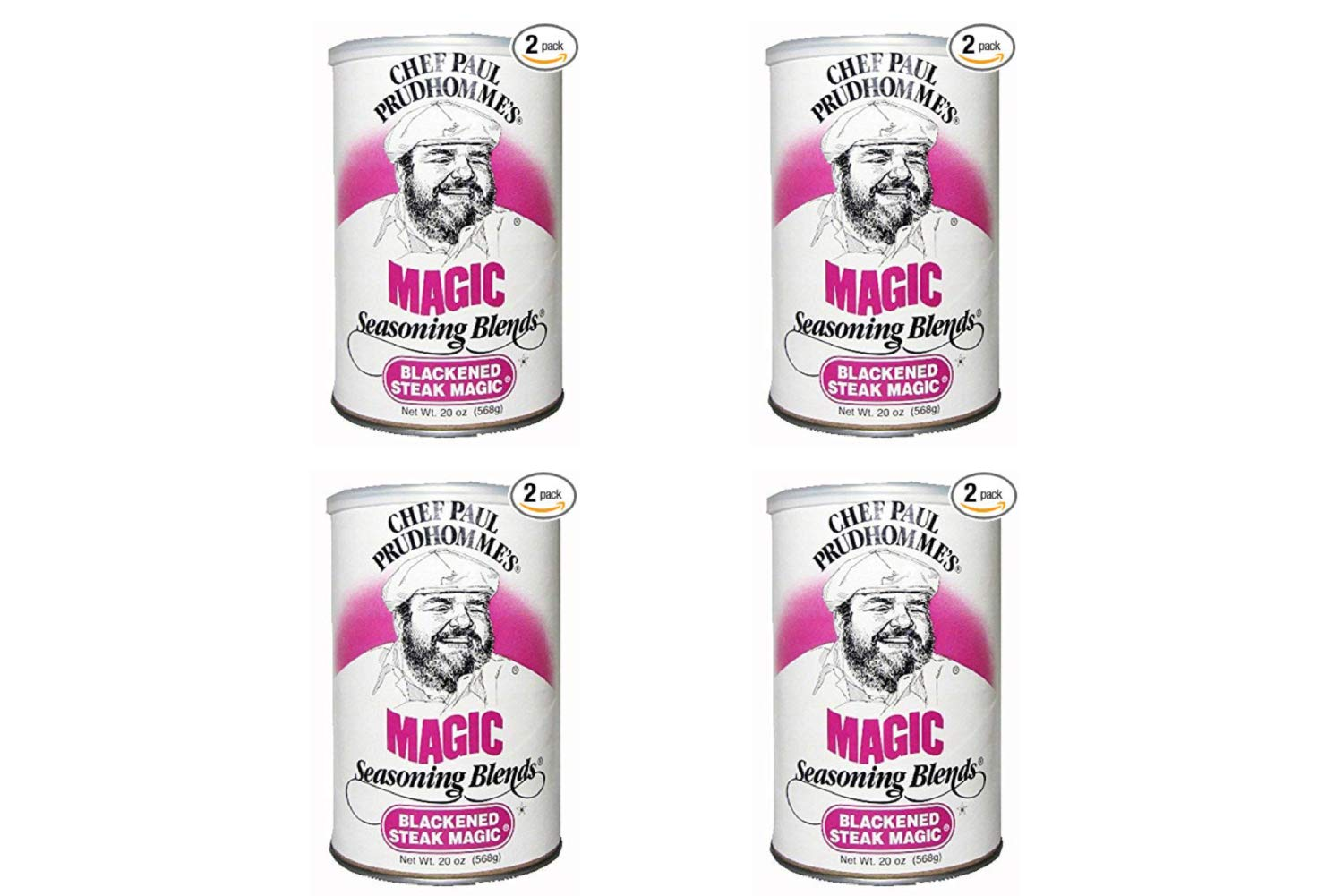 Chef Paul Blackened Steak Magic Seasoning, 20-Ounce Canisters (Pack of 2) (4 Pack)