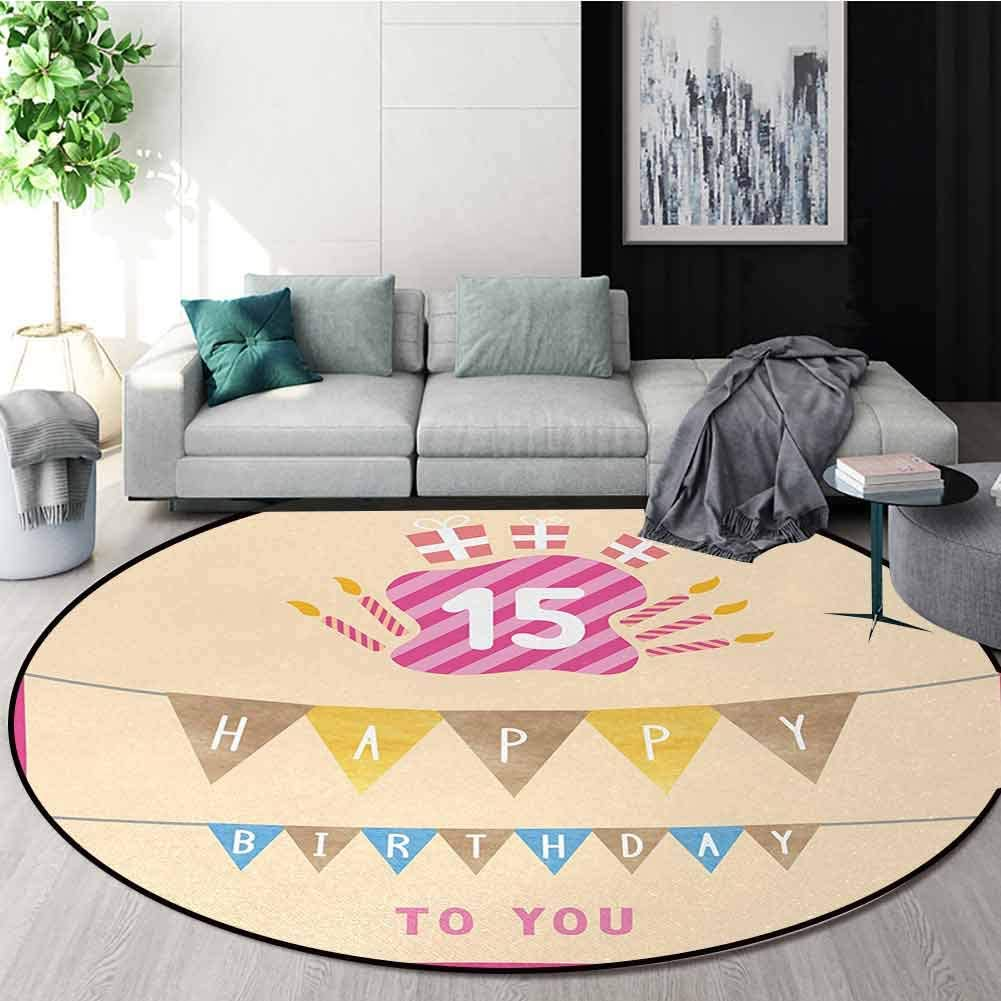15Th Birthday Rug Round Zuhause Decor Area Rugs,Pastel Colored Framework mit Flags Presents und Candles Greeting Themed Non-Skid Bath Mat Living Room/Bedroom Carpet Diameter-63 Inch,Multicolor