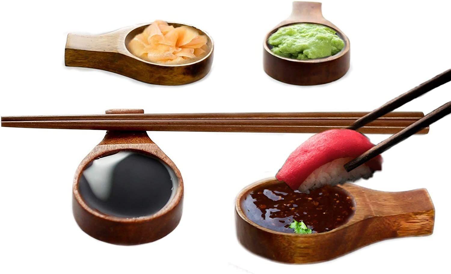 8 Pieces Wooden Chopstick Rest Set: 4 Wood Sauce Dish & Chopstciks Stand And Four Wood Chopsticks. Perfect For Asian Food: Ramen, Currys, Sushi, Miso, Dipping plates.