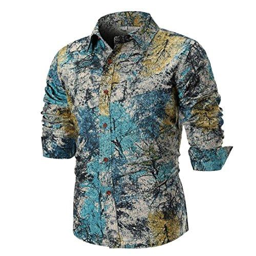 SFE Mens Fashion Shirts,Personality Mens Casual Slim Long-Sleeved Shirt Top Blouse