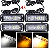 Astra Depot 4-LED White & Amber Waterproof Emergency Beacon Flash Caution Strobe Light Bar 16 different flashing Car SUV Pickup Truck Van (4 pcs)