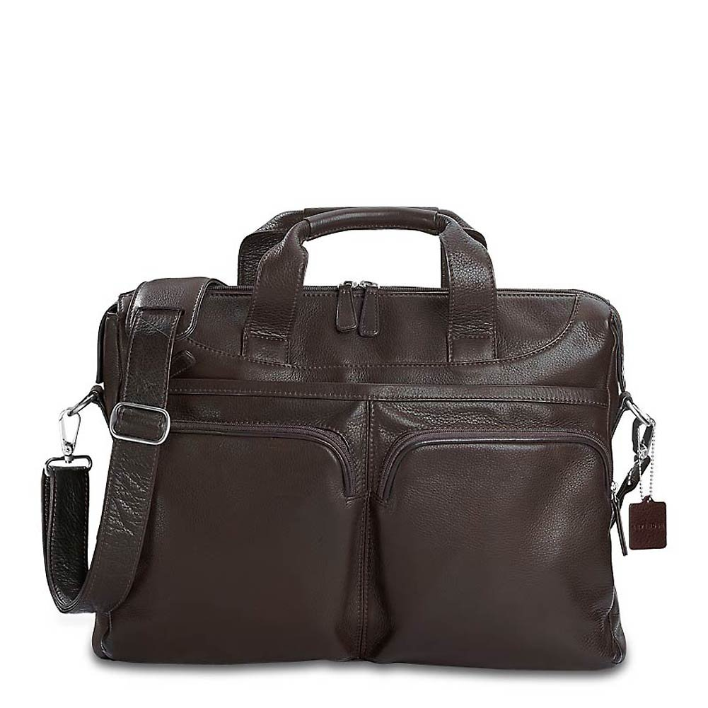 Levenger Double Pocket Briefbag, Mocha (AL12650 MO) by Levenger