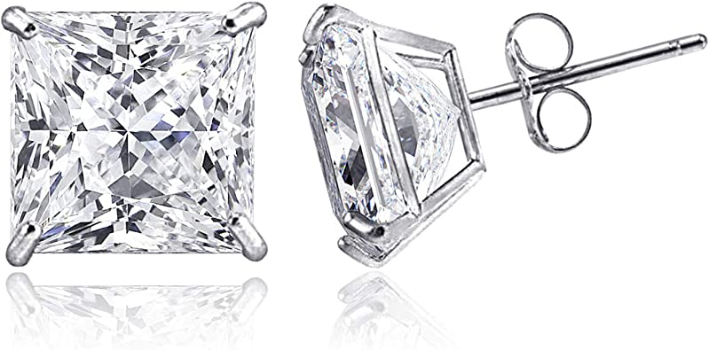 14kt White Gold Princess Cut White Cubic Zirconium Stud Earrings