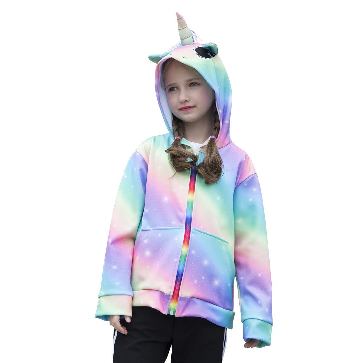 b7168c65de84 Amazon.com  Sylfairy Girls Rainbow Unicorn Hoodie Jacket Zip Up ...