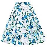Paul JonesDress 50s Vintage Floral Printed Skirt Pleated Stylish Skirts(3XL, C-1)