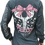 Southern Attitude Dogwood Sassy Deer Skull Bow Dark Heather Long Sleeve Shirt (Medium)