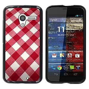 [Neutron-Star] Snap-on Series Teléfono Carcasa Funda Case Caso para Motorola Moto X 1 1st GEN I [Blanco modelo de la tela roja]