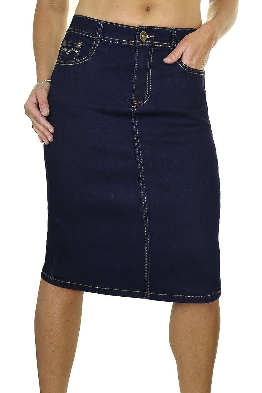 good ICE (2543) Stretch Denim Jeans Skirt Diamante Detail Indigo ...