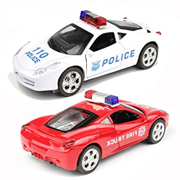 2 PCS Voiced Sound And Light Alloy Car Pull Back Police Car Toy 1:32