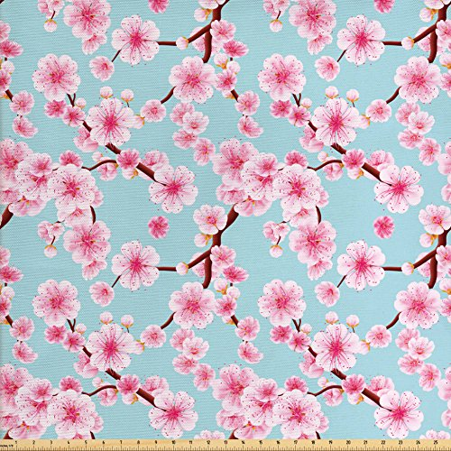Ambesonne Cherry Blossom Fabric by the Yard, Inspirational Seasonal Flower Garden Arrangement in Pastel Color, Decorative Fabric for Upholstery and Home Accents, Pale Blue Redwood Pink
