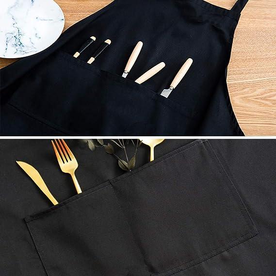 Tablier Unisexe Noir avec Poche Avant Lavable en Machine pour Cuisine Barbecue Artisanat Dessin Trebien Total 11 Bavoirs