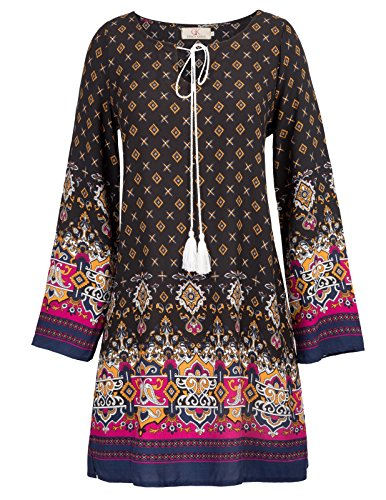 Long Sleeve Printed Tunic Dress - Women Boho Ethnic Style Loose Fit Long Sleeve Printed Tunic Dress Size L Black