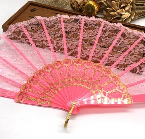 Pink Flower Floral Fabric Fashion Vintage Spanish Lace Folding Hand Folding Fan Party Dancing Folding Fan by Hand Fan