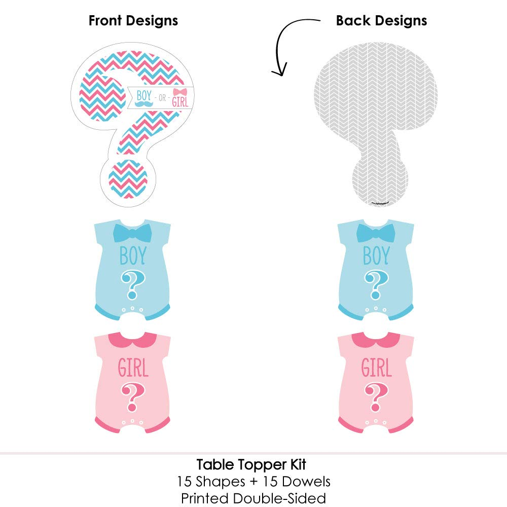 Table Toppers Gender Reveal Party Centerpiece Sticks Chevron Gender Reveal Set of 15