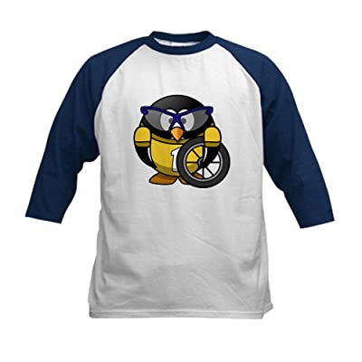 Truly Teague Kids Baseball Jersey Little Round Penguin - Cyclist In Yellow Jersey - Navy/White, Large (14-16)
