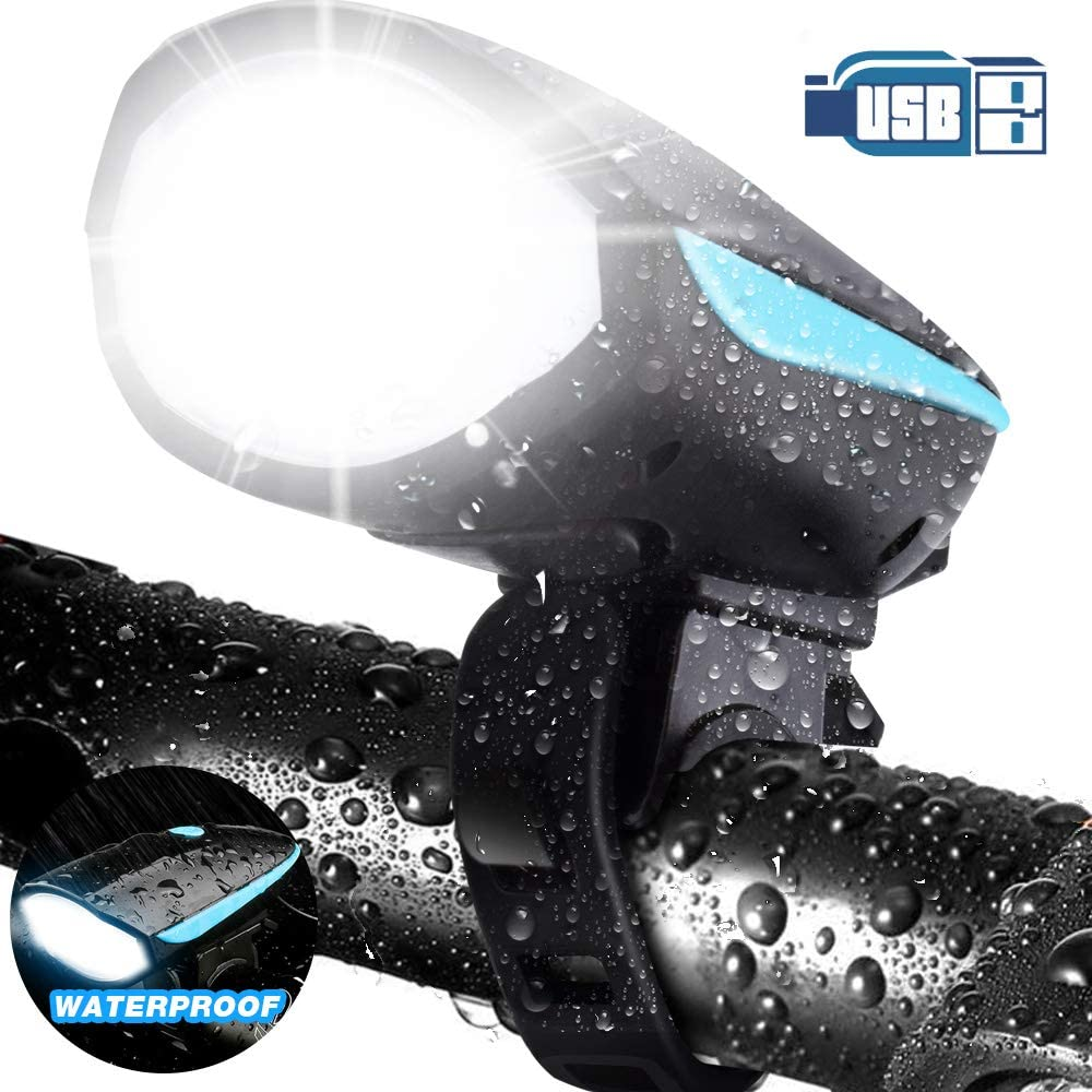 Bycicle Front Light Charged Night Light with Horn