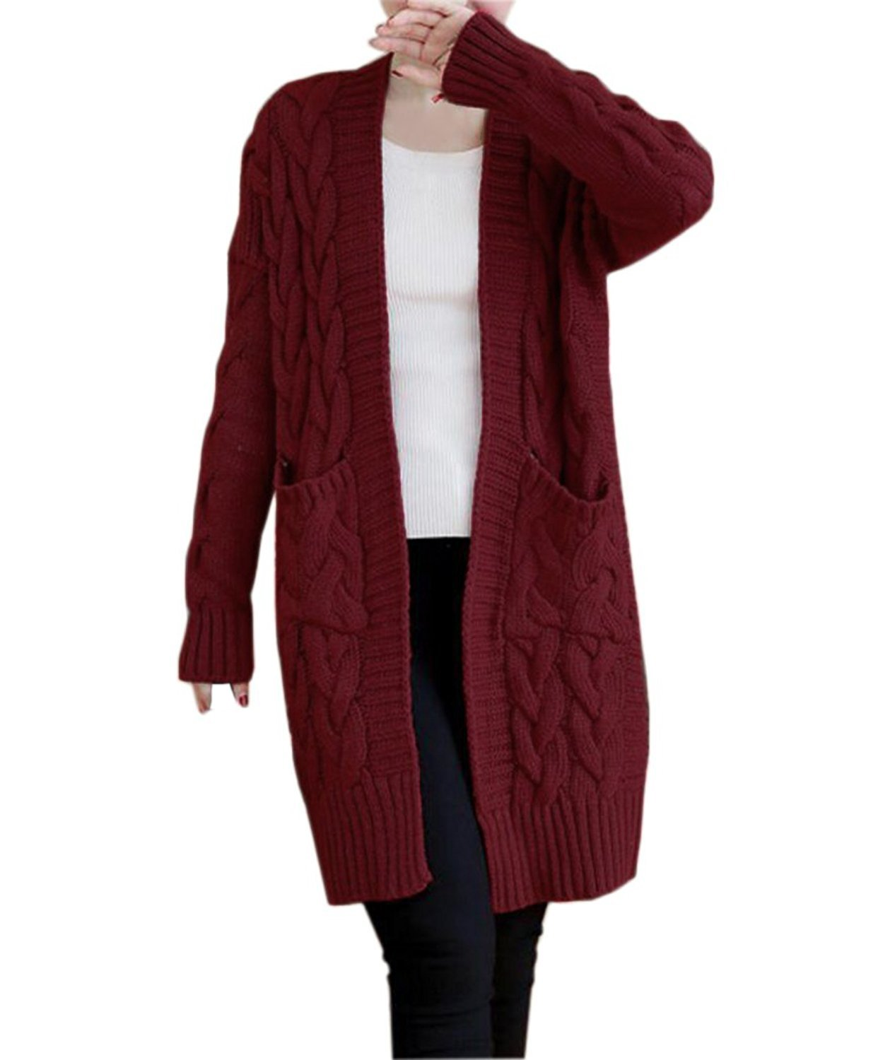 NUTEXROL Women's Open Front Long Sleeve Knit Think Cardigan Chunky Sweater Wine L
