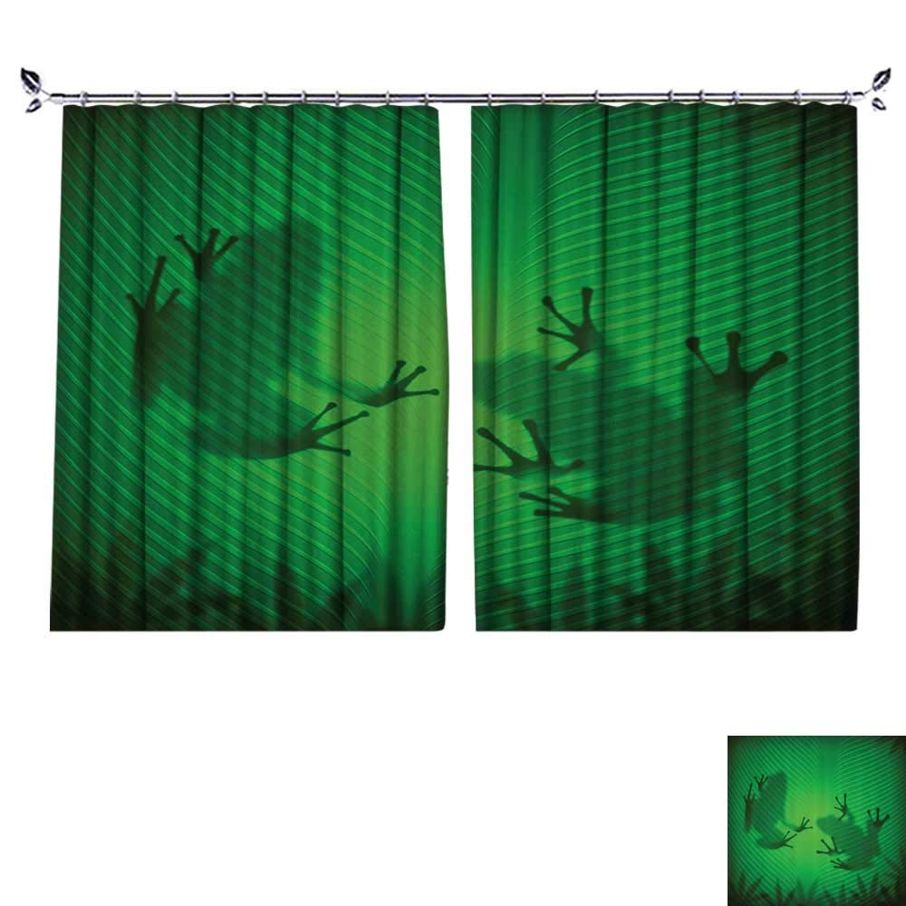 DESPKON Decoration Polyester Material Frog Shadow Silhouette The Banana Tree Leaf in Tropical Lands Jungle Light Games for Children's Room W72 x L45