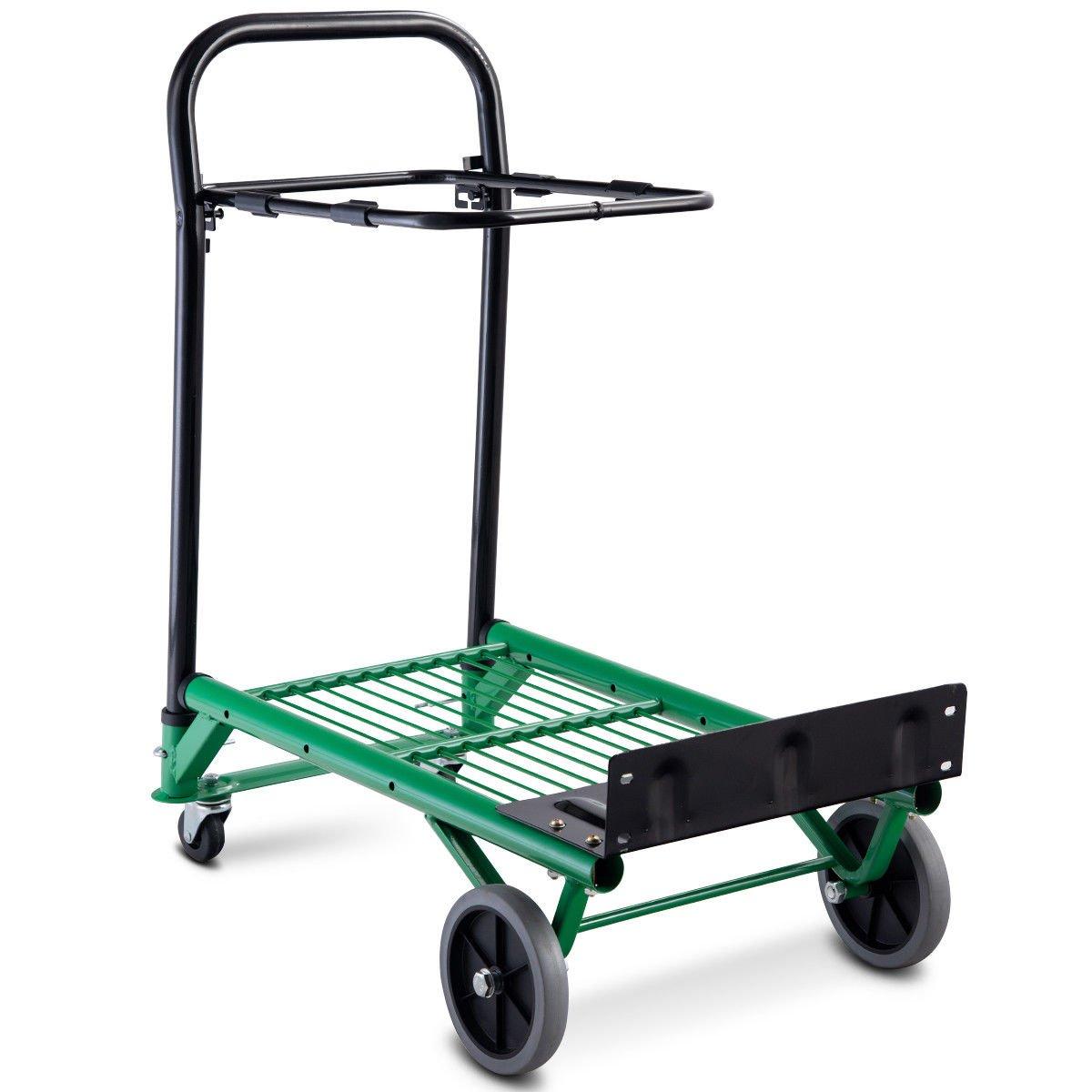 Green 2-in-1 Convertible Platform Hand Truck Garden Dolly Cart Folding Heavy Duty Warehouse Transport Loads(U.S. Stock) by Heize best price (Image #1)