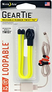 product image for Nite Ize GLS6-33-2R7 Gear Loopable Rubber Twist Tie, 6-Inch (2-Pack), Neon Yellow