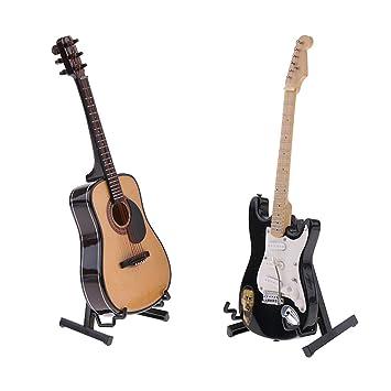 MagiDeal 2 Piezas Escala 1/6 Instrumento Musical de Guitarra en Miniatura para 12 Pulgadas