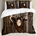 Antler Decor Duvet Cover Set Queen Size by Ambesonne, Rustic Home Cottage Cabin Wall with Antlers Hunting Lodge Country House Trophy, Decorative 3 Piece Bedding Set with 2 Pillow Shams, Brown