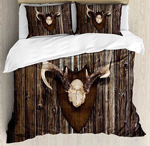 Ambesonne Antler Decor Duvet Cover Set King Size, Rustic Home Cottage Cabin Wall with Antlers Hunting Lodge Country House Trophy, Decorative 3 Piece Bedding Set with 2 Pillow Shams, ()