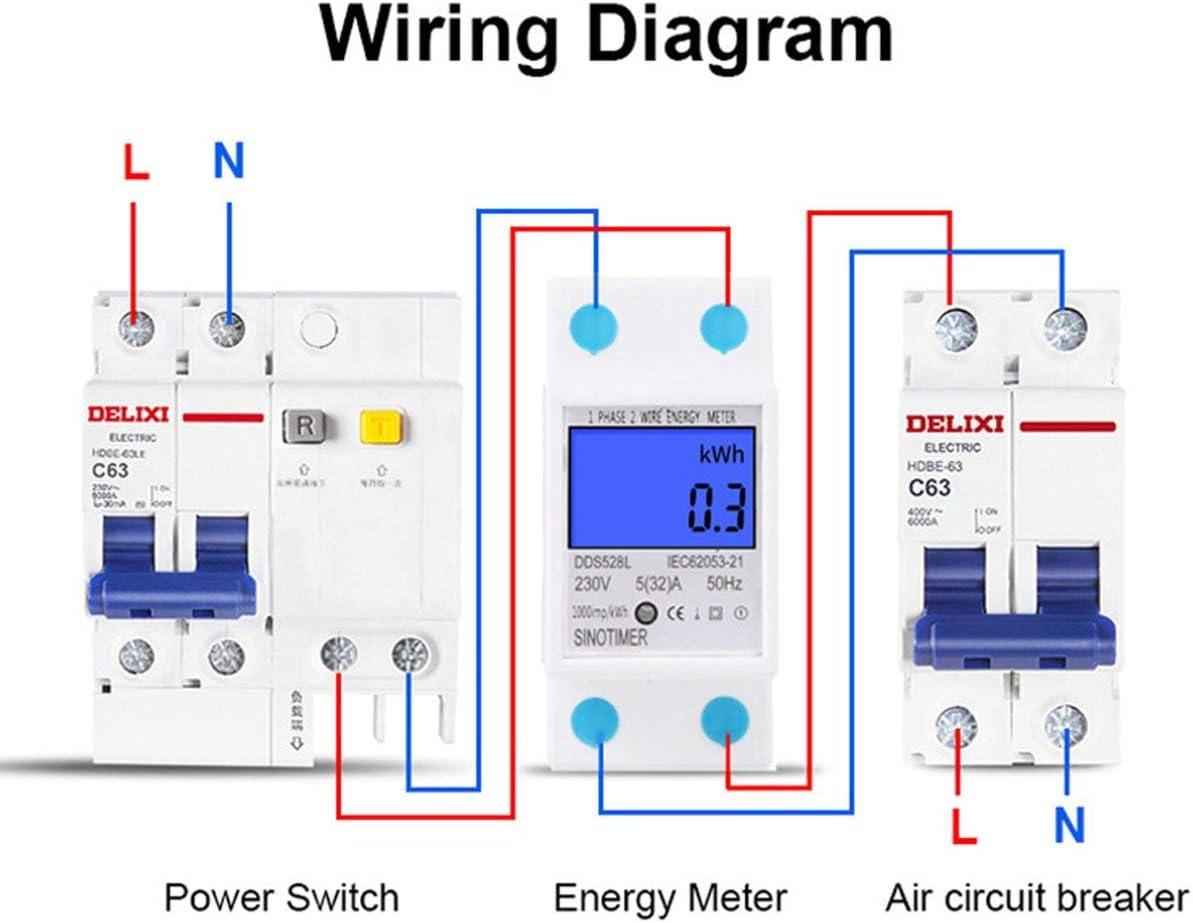 Bianco SINOTIMER Monofase Consumo di energia Analizzatore di Watt energetico KWh AC 230 V Digital LCD Elettricit/à Monitor di utilizzo Wattmetro