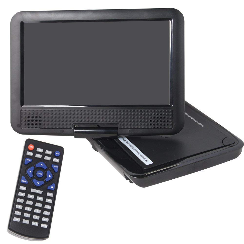Buyee Handheld Portable DVD Player 9.5 Inch 270 Degree Swivel Screen Support Analog Tv/ Vcd/cd/mp3/mp4/usb Sd Card Slot /Card Reader/ Game/fm Radio with Game Controller and Remote Controller (Black)