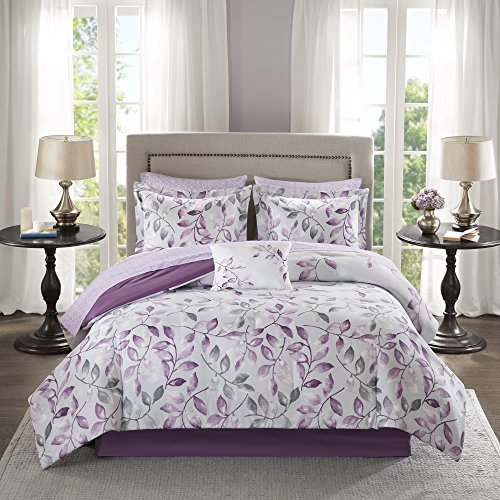 Garden Floral Pattern (7 Piece Garden Leaves Floral Pattern Comforter Set Twin Size, Elegant All Over Blossom Leaf Flowers Print Theme, Boho Chic Hippy Indie Design, Solid Reversible Bedding, Vibrant Colors Purple Grey)
