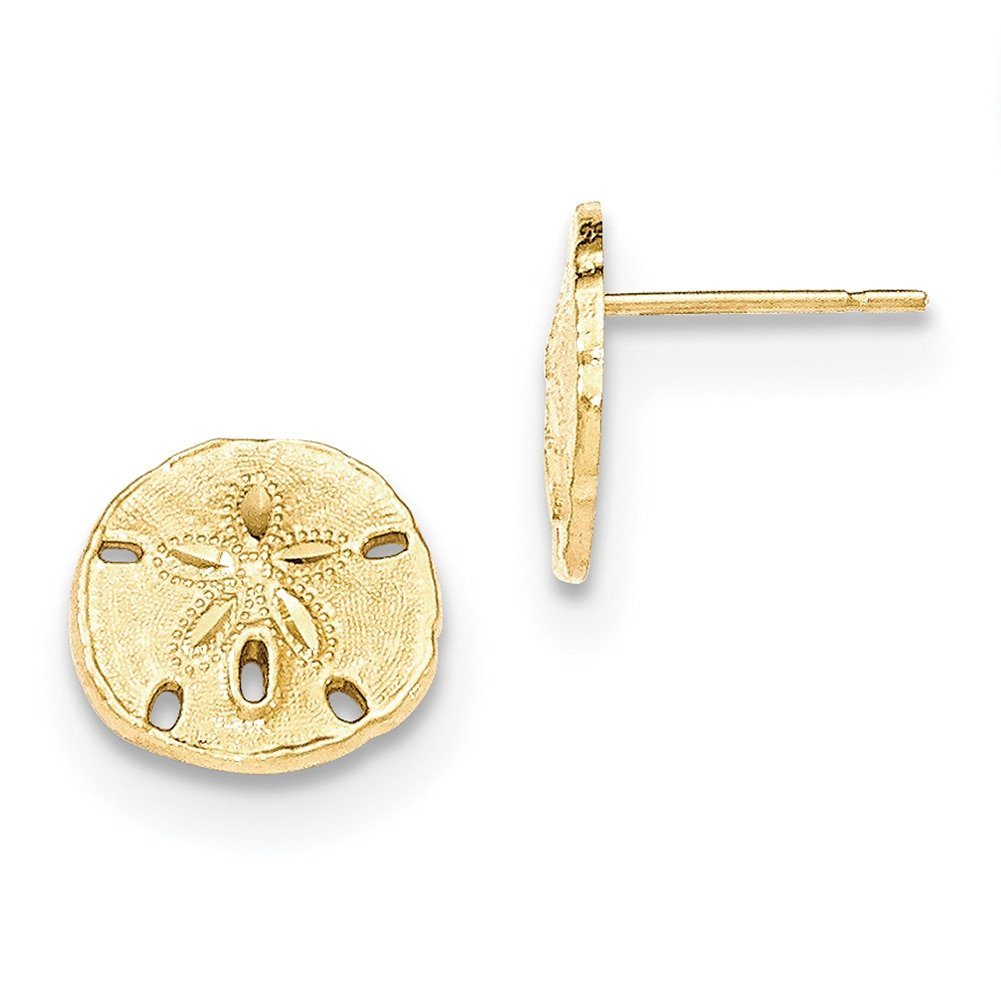 Lex /& Lu 14k Yellow Gold Polished /& Textured Sand Dollar Post Earrings