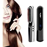 Beard Straightening Brush, Cordless USB Rechargeable Travel Ceramic Brush Hair Straightener for All Hair Types