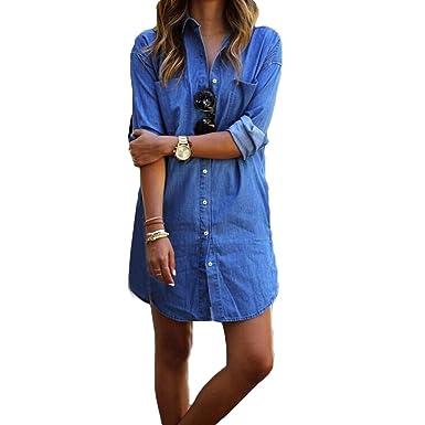 57a42f14dcf8 Juleya Jeans Blouse Aux Femmes Tunique Robe Chemise Jeans Chemisier Mini  Robe Manche Longue Été Sexy