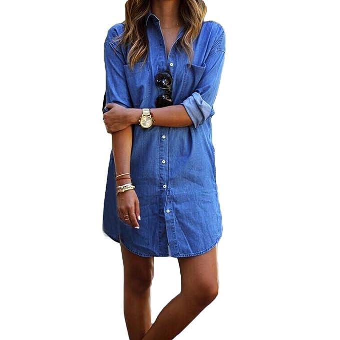 280dc1e5951 Hibote Mujer Casual Blusa de Jeans Camisa de Vestir Mini Vestido Estilo Casual  Suelto Sayo Elegante