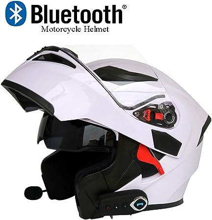 Moto Casco Bluetooth Casco Anti-Collisione Casco Modulare D.O.T Certificazione Flip Frontale Anti-Fog Doppio Specchio Risposta Automatica Bluetooth Musica M, L, XL, XXL ,Blackgreen,XXL63CM~64CM