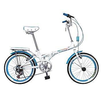 XQ Bicicleta Plegable Adulto Estudiante Cambio De Velocidad 7 20 Pulgadas (Color : Azul)