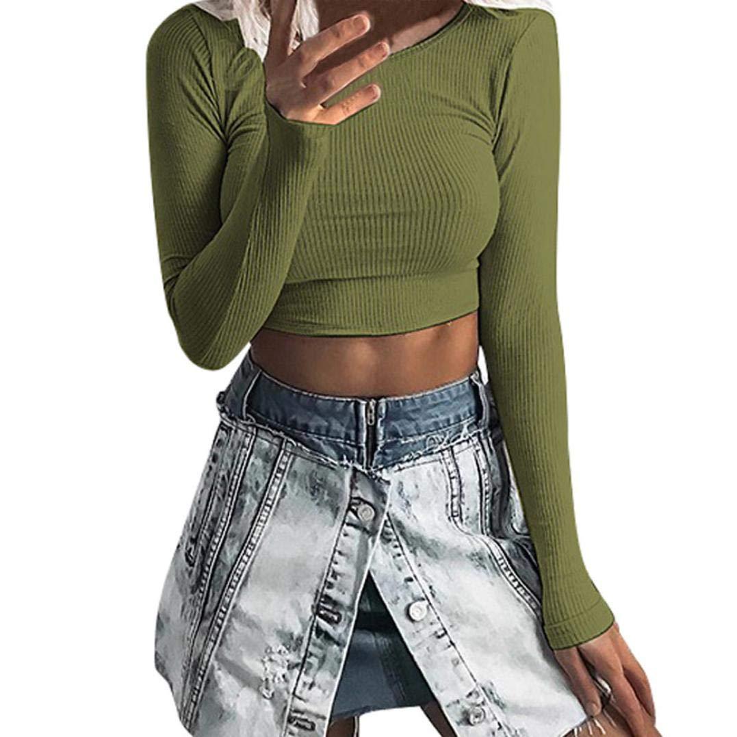 Luckycat Frauen Langarm O-Hals Tight elastische T-Shirt Blusen Crop Tops Blusen Sweatshirt Pullover Oberteile Mode 2018 LUCKYCAT Damen T shirt TWO