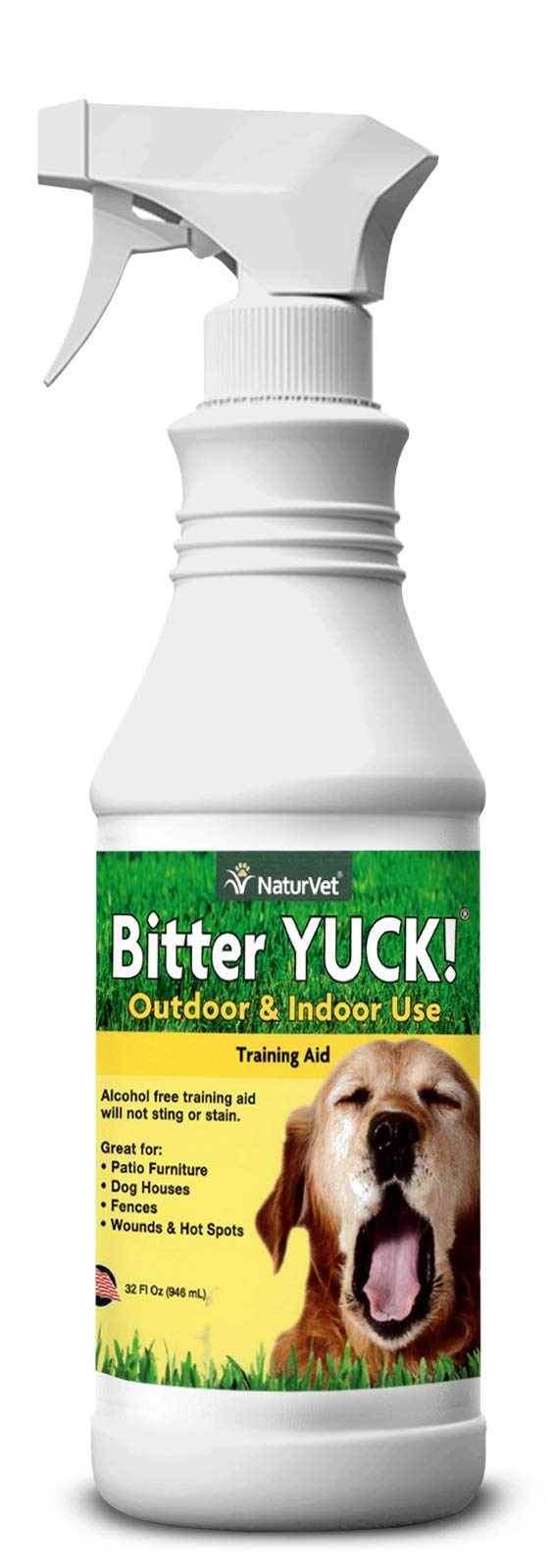 NaturVet - Bitter Yuck - No Chew Spray - Deters Pets from Chewing on Furniture, Paws, Wounds & More - Water Based Formula Does Not Sting or Stain - for Cats & Dogs (32 oz) by NaturVet