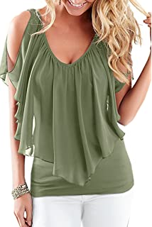 f98fa02c468 Moly Magnolia Womens Sexy Summer V Neck Sleeveless Cold Shoulder Club Shirt  Tops