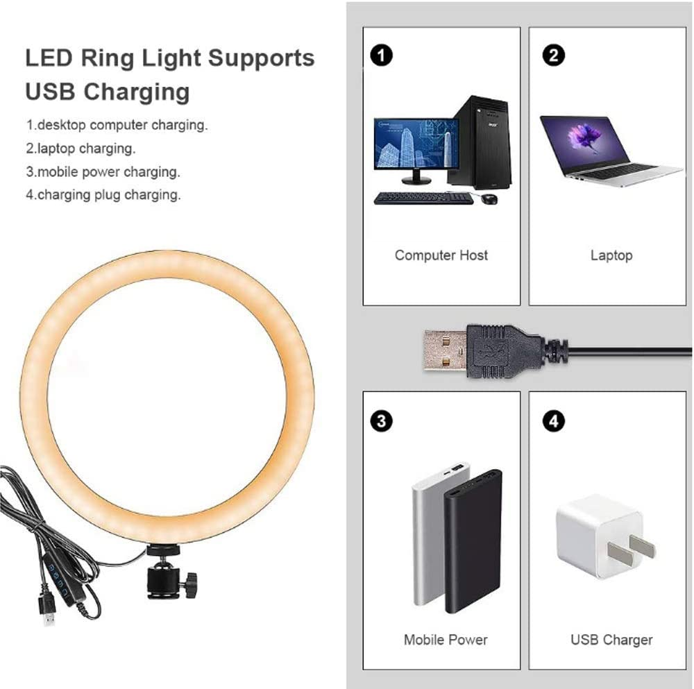 LED Ring Light Dimmable 8 inch Makeup Light,YouTube Video Shooting Light,USB Live Streaming Circle Light for Vlog,Ring Light with Tripod Stand Size : A
