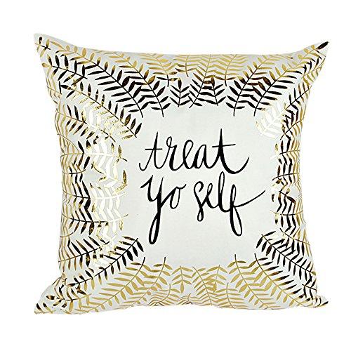 Fabric Toss Pillow - MHB Home Décor Gold Foil Print Decorative Throw Pillow Covers 18