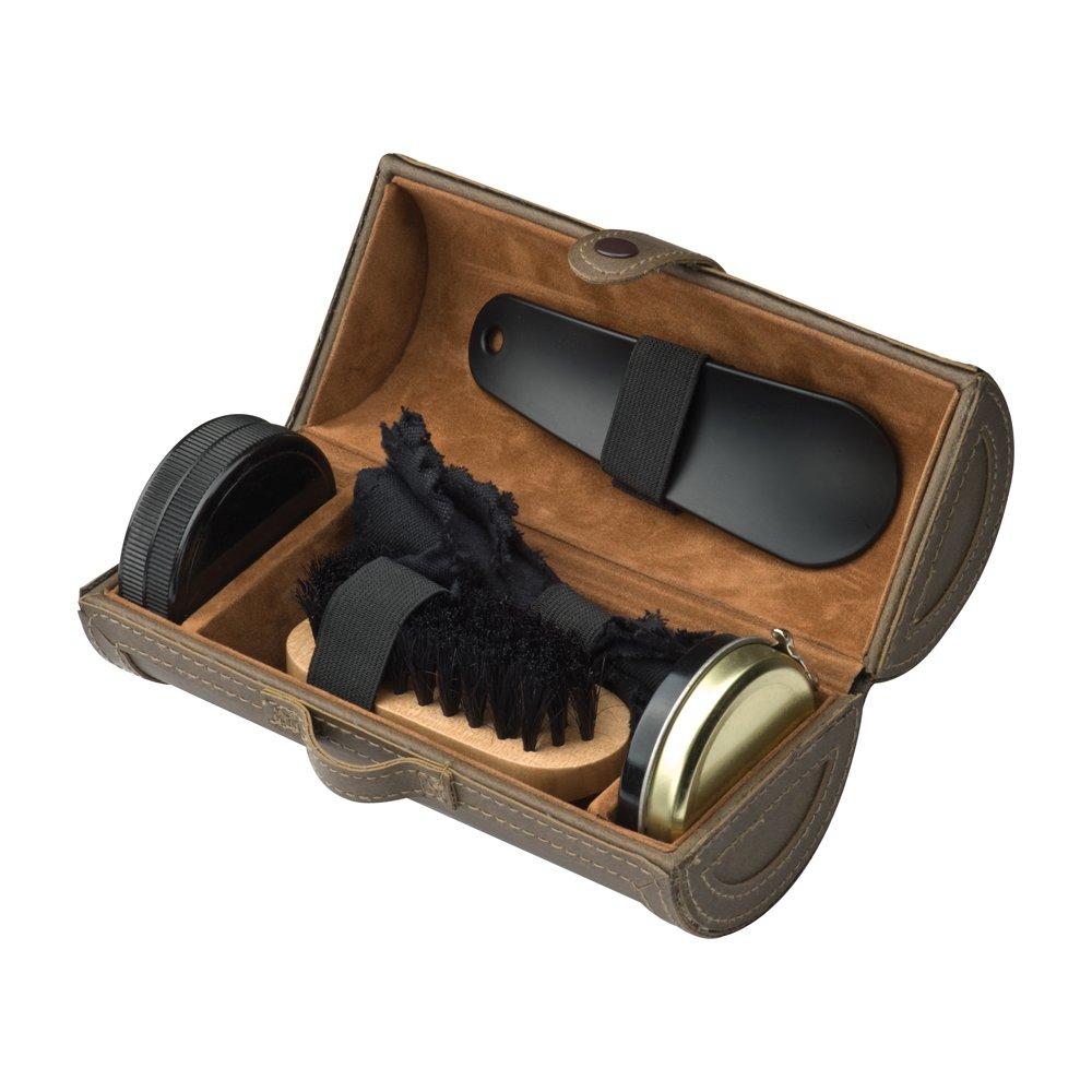 eBuyGB 5 Piece Luxurious Shoe Shine Polish Kit in a PU Leather Case (Brown)