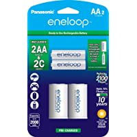 2-Pack Panasonic eneloop AA 2100 Cycle Ni-MH Pre-Charged Rechargeable Batteries with 2 C Spacers Kit