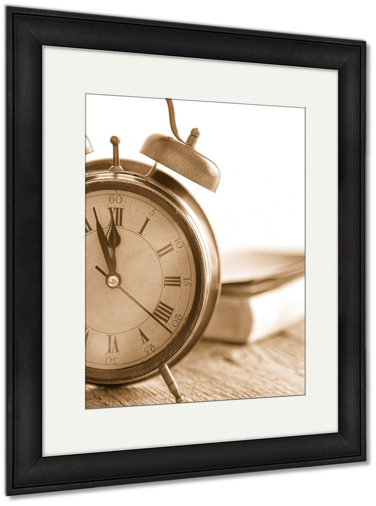 Ashley Framed Prints Clock And Bible On Wood, Wall Art Home Decoration, Sepia, 40x34 (frame size), Black Frame, AG5500789