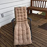 "Ofit Quilted Micro Suede Chair Pads Bench Cover Patio Long Chair Cushion Pads (17x60""(pad), Peat)"